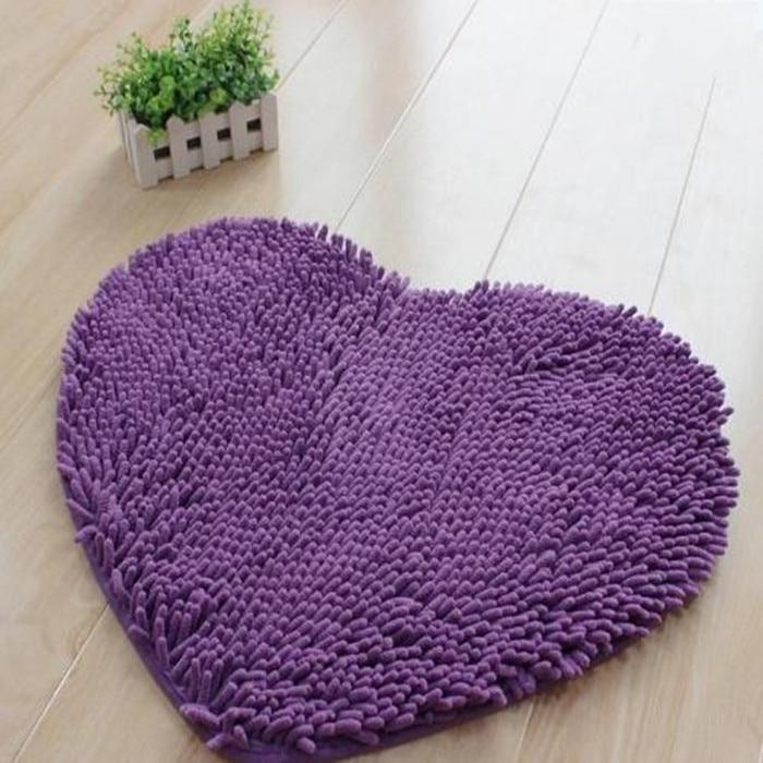 Microfiber Flock Bedroom Mats Heart Shaped Floor Mats Doormat Bath/Kitchen Rug Chenille Cushion Room Pad 50x60cm