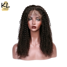 KL Hair Kinky Curly 360 Lace Frontal Wigs 150% Density Human Hair Natural Brazilian Remy Hair For Black Women With Baby Hair