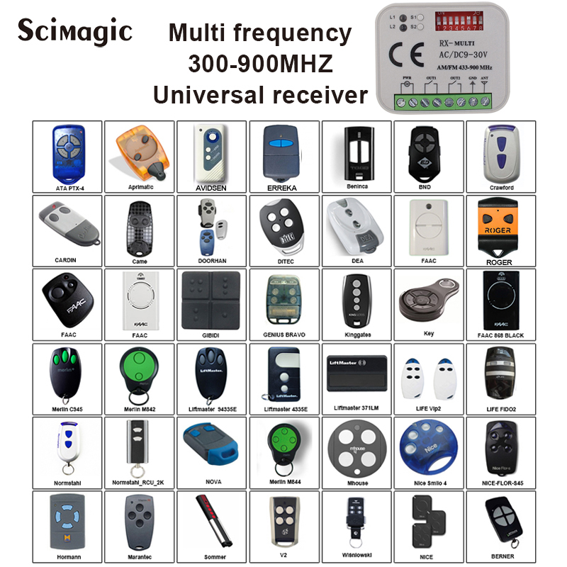 Garage door remote control receiver Universal multiple frequency 300-900mhz receiver AC/DC 9-30V for garage door gate openerGarage door remote control receiver Universal multiple frequency 300-900mhz receiver AC/DC 9-30V for garage door gate opener