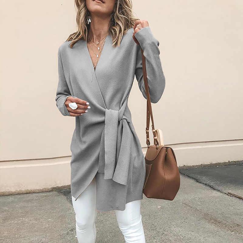2019 herbst Winter Neue Frauen Woolen Mäntel Sexy V-ausschnitt Spitze Up Feste Beiläufige Dünne Outwears Warme Einfache Elegante Jacken weibliche S-XL