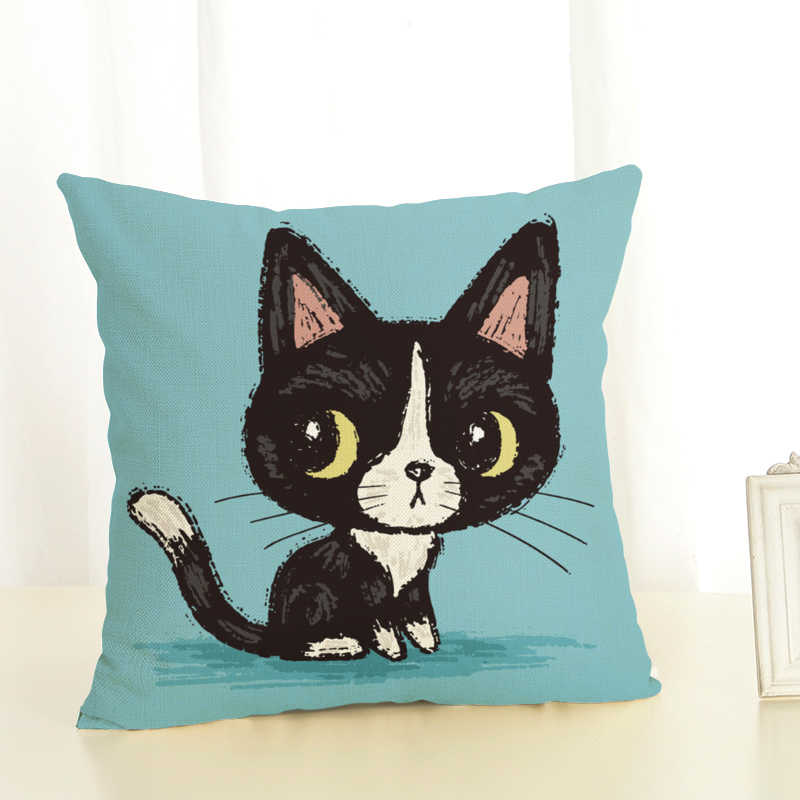 Hot Selling Cat Empire Linen Cotton Square Retro Floral Home Decor Throw Pillow Cushion Cover Cojines
