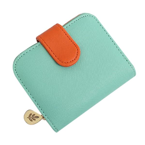 Lady short paragraph cross strip multi-card bit zero purse zipper buckle wallet