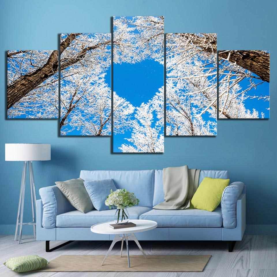 Wall Art Printed Modular Home Decor Picture 5 Set Modern Winter Snow Landscape Tree Heart Sky HD Canvas Painting Bedroom Posters