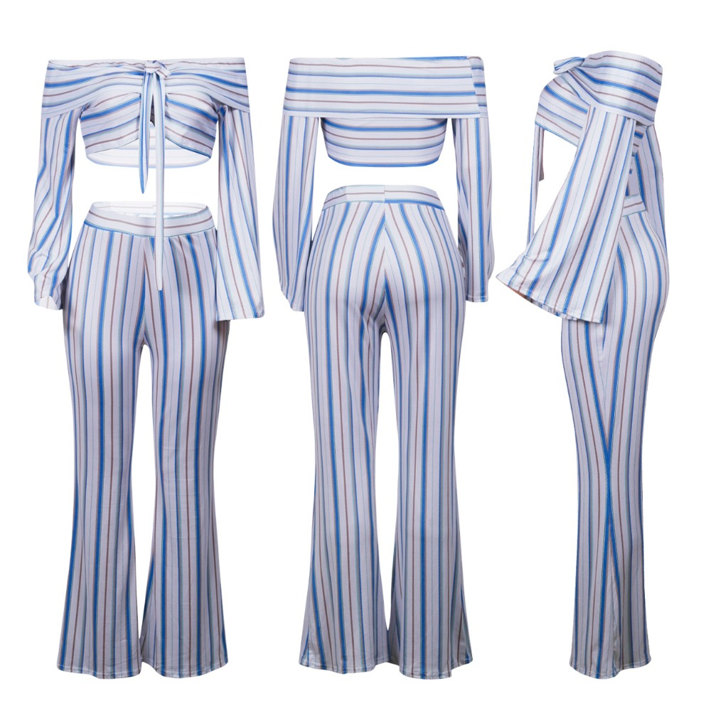 Sexy v neck off shoulder Bandage striped 2 piece set women summer casual fashion two piece set top and pants outfits suit (13)