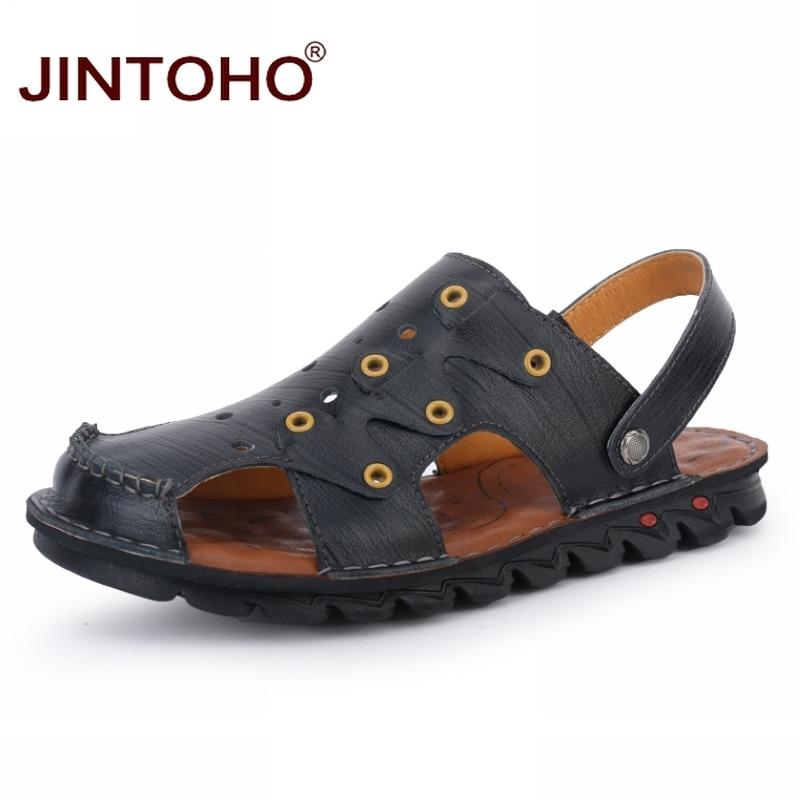 4ac8ab8d6bc95 JINTOHO 2018 New Summer Men Beach Shoes Fashion Male Sandals Genuine  Leather Men Sandals Designer Beach Leather Sandals