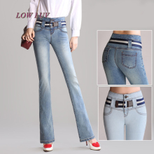 High Waist Jeans Women Retro Style Bell Bottom Skinny Jeans Female Slim Elastic Flare Pants women denim pants With Belt