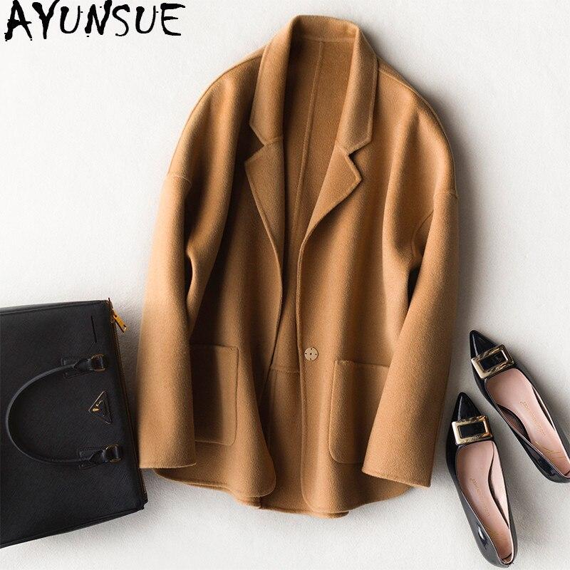 AYUNSUE 2019 Осень Зима Мода Короткие 100% шерсть кашемир женские пальто двухстороннее шерстяное пальто женские Casaco Feminino FGB213
