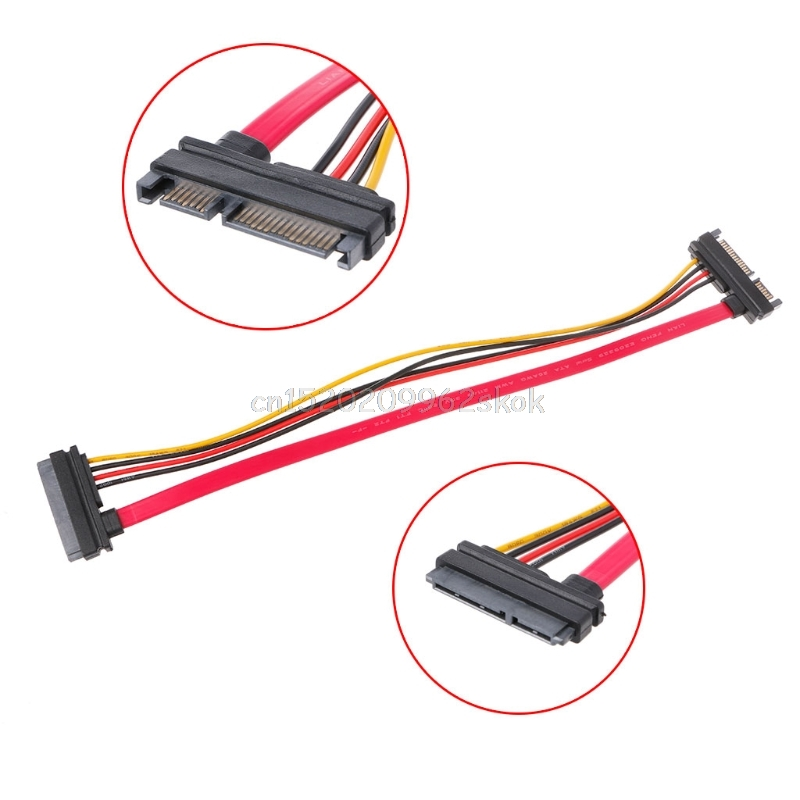 30cm 22Pin(15+7) Male To Female SATA Serial ATA Data Power Cable Extension Cord #H029# Drop shipping 38cm serial ata sata 2 cable lead hard drive data red professional drop shipping futural digital jun16