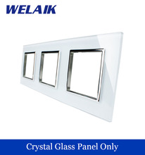 WELAIK  Touch Switch DIY Parts  Glass Panel Only of Wall Light Switch Black White Crystal Glass Panel Square hole  A3888W/B1