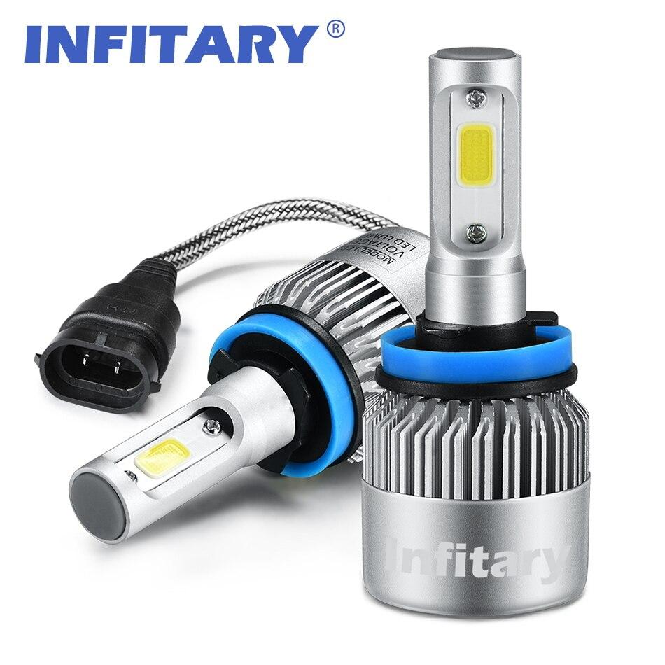 buy infitary auto car h11 led headlights 2x36w 72w 6500k 8000lm 12v cob bulbs. Black Bedroom Furniture Sets. Home Design Ideas