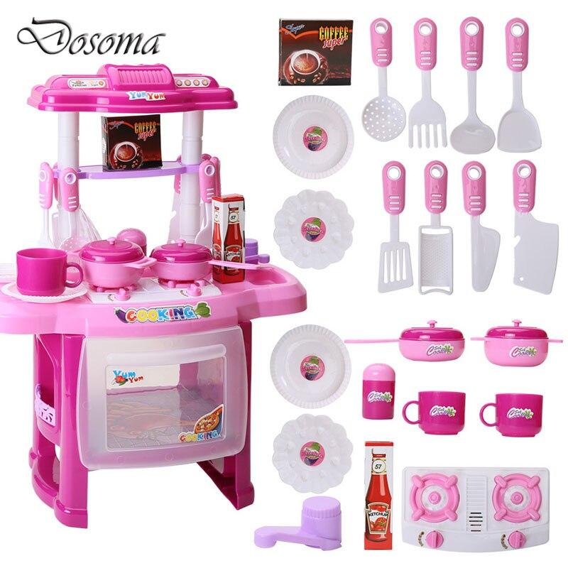 bambini play house toys ragazza musica leggera da tavola set baby toys cucina cucina modello di