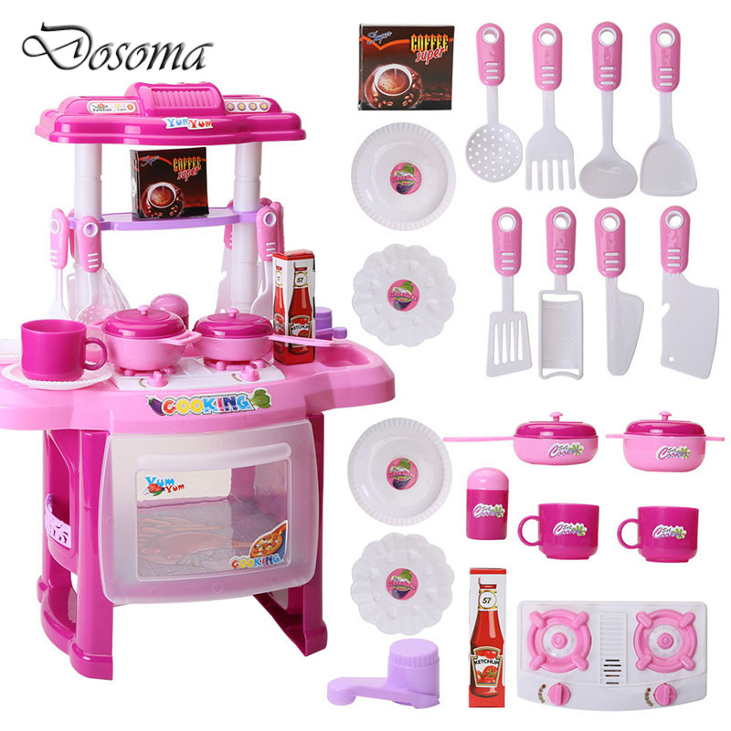 40e5dc52afc8 Kids Play House Toys Girl Light Music Tableware Sets Baby Toys ...