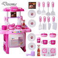 Kids Play House Toys Girl Light Music Tableware Sets Baby Toys Kitchen Cooking Simulation Model Happy Kitchen Pretend Play Toys