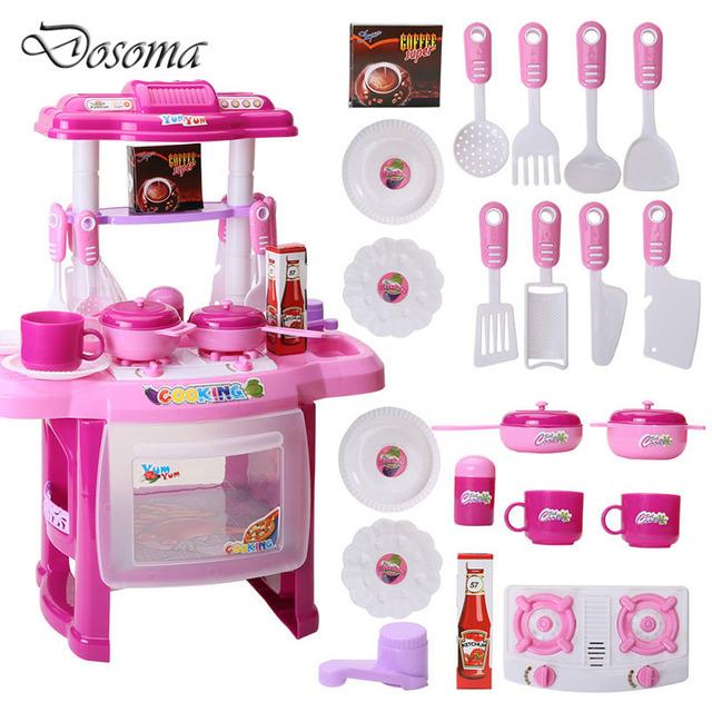 Kids play house toys girl música ligera vajilla sets baby toys modelo de simulación de cocina cocinar feliz cocina pretend play toys