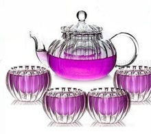 5pcs/lot pumpkin shape heat resistant glass teapot 1pc 600ml pot+4pc 50ml double tea cup hot selling JO 1052