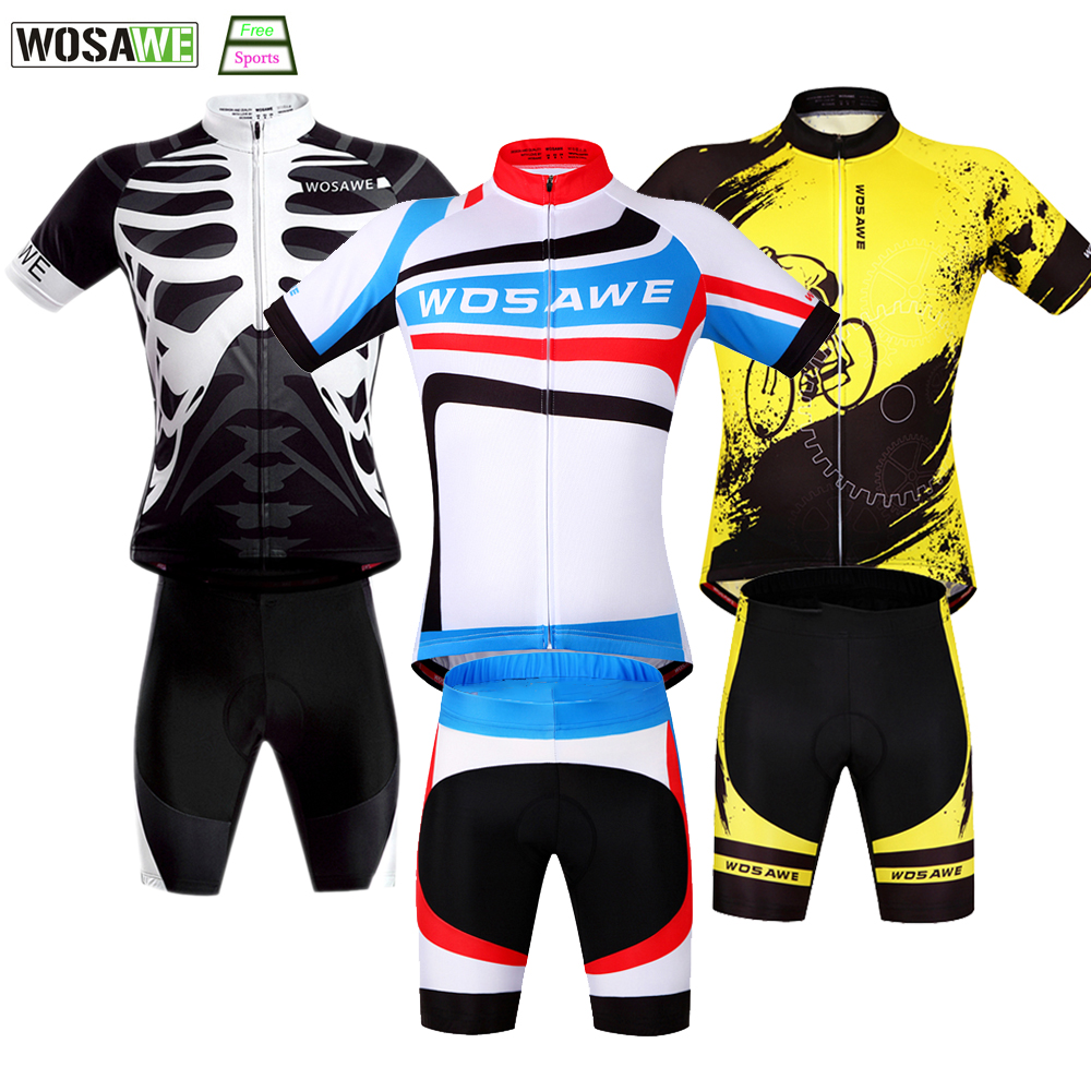 WOSAWE Cycling Clothing Quick Drying Cycling Jersey Set MTB Bike Mountain Shirt Shorts Riding Team Bicycle Motocross Cloth
