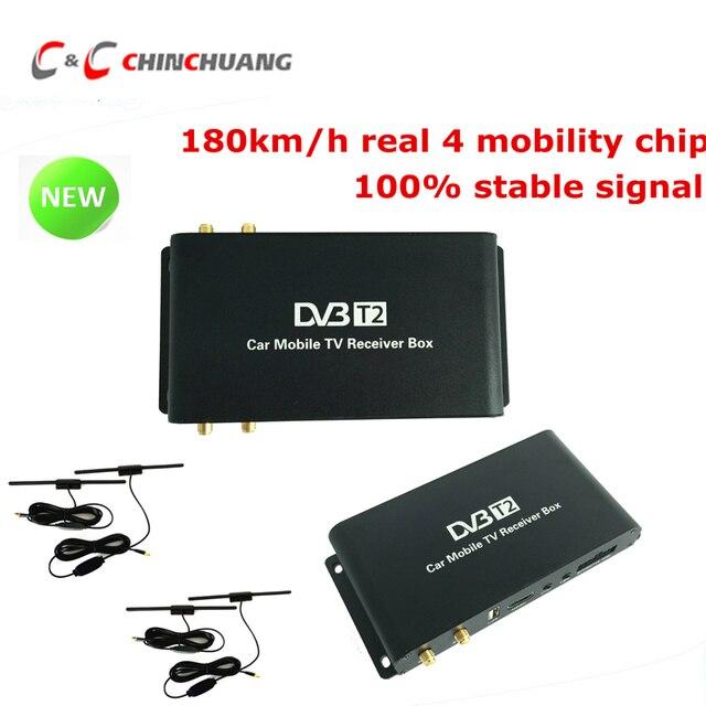 180-200km/h Car Mobile DVB-T2 4 Antennas 4 Mobility Chips DVB T2 Car Digital Car TV Tuner HD 1080P Receiver BOX for Car DVD