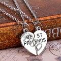 Plata 2 unids/set Plata 2 Piezas Corazón Mejores Amigos Collar Para Las Mujeres Joyería Fina Collar Amistad bijoux