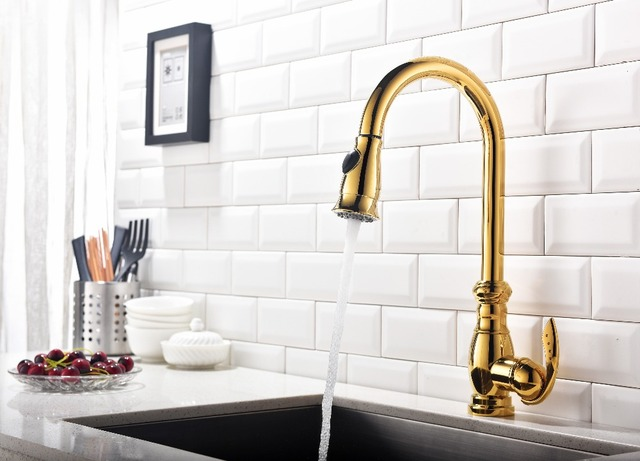 Fast Delivery Single Handle Hole Gold Kitchen Faucet Golden Sink Water Mixer Tap