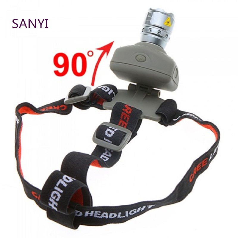 4 Modes Sanyi Q5 LED Headlamp 800Lm Powerful Torch Head Light With Adjustable Headband Power By 3 * 1.5V AAA Batteries