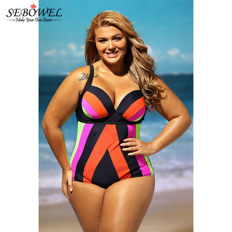 e1de34e36e420 SEBOWEL Plus size Swimsuit Women One Pieces Swimwear High Waist ...
