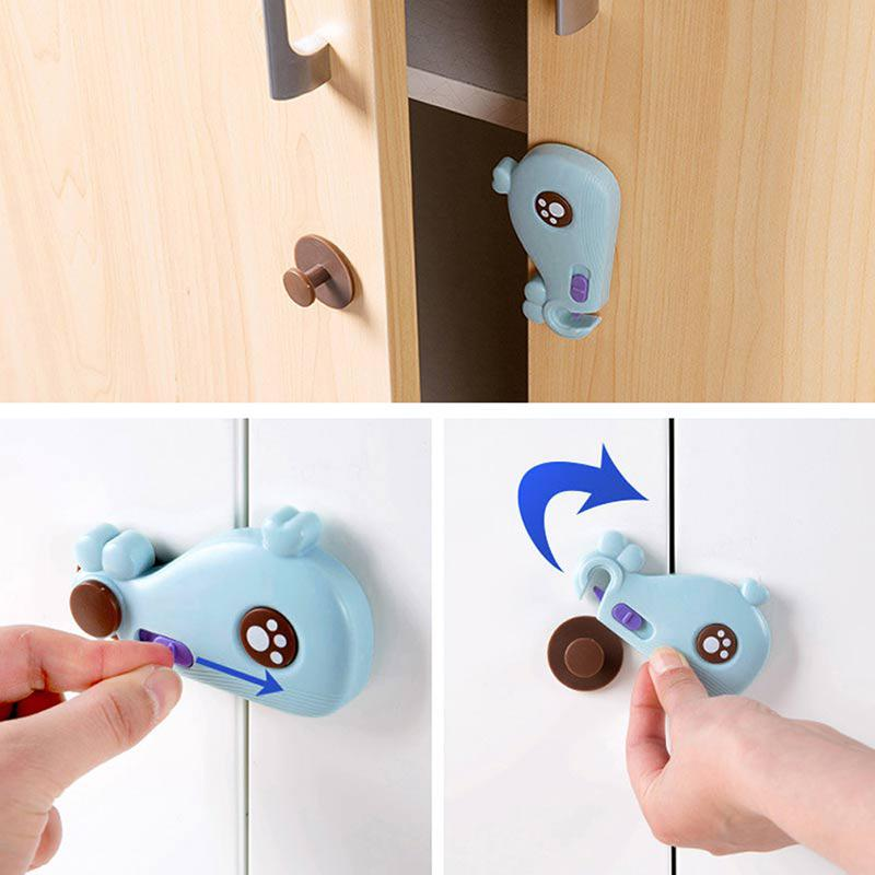 AOLVO Children Safty Door Lock Cute Catoon Whale Baby Sliding Lock For Proofing Cabinets Kitchen Bifold Door