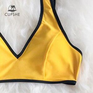 Image 5 - بيكيني عالي الخصر باللونين الأصفر والأسود من CUPSHE قطعتين لباس بحر للفتيات 2020