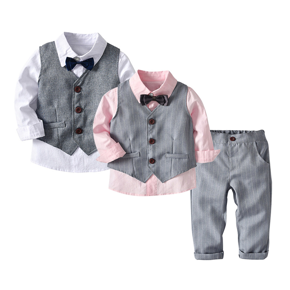 4pc Formal Baby Toddler Boys Red Bow Tie Black Pants Set Suit Hat S-7 3T