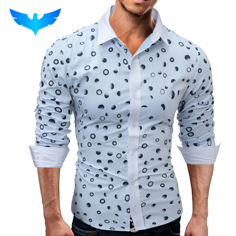 QINGYU Brand 2018 Fashion Male Shirt Long-Sleeves Tops Casual Polka Dots Simple Mens Dress Shirts Slim Men Shirt 2XL