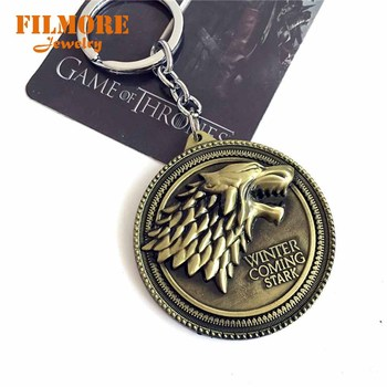 Filmore Game of Thrones Shield Round Coin Metal A Song of Ice and Fire Keychain Pendant