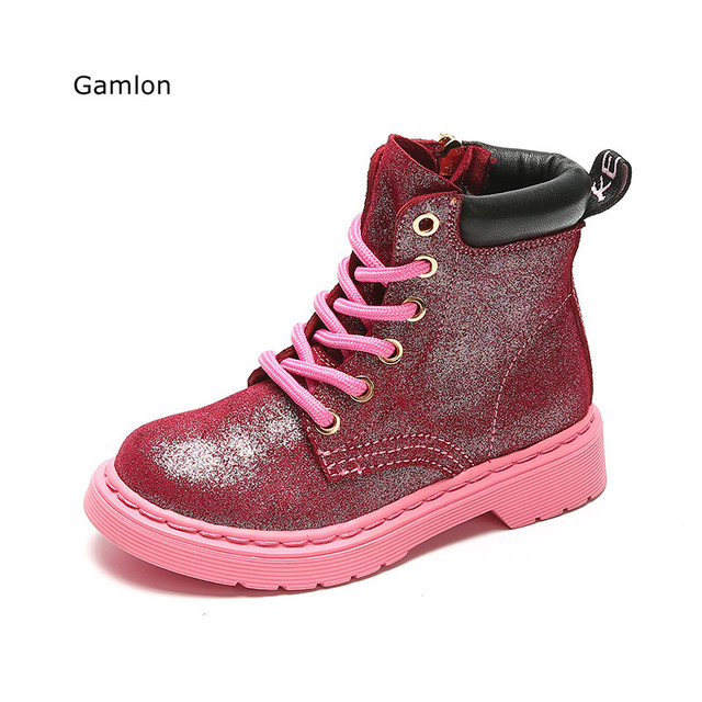 Gamlon Children Kids Girl Leather Boots 2017 Autumn New Boys Children Boots British Fashion Genuine Leather Soft Princess Shoes