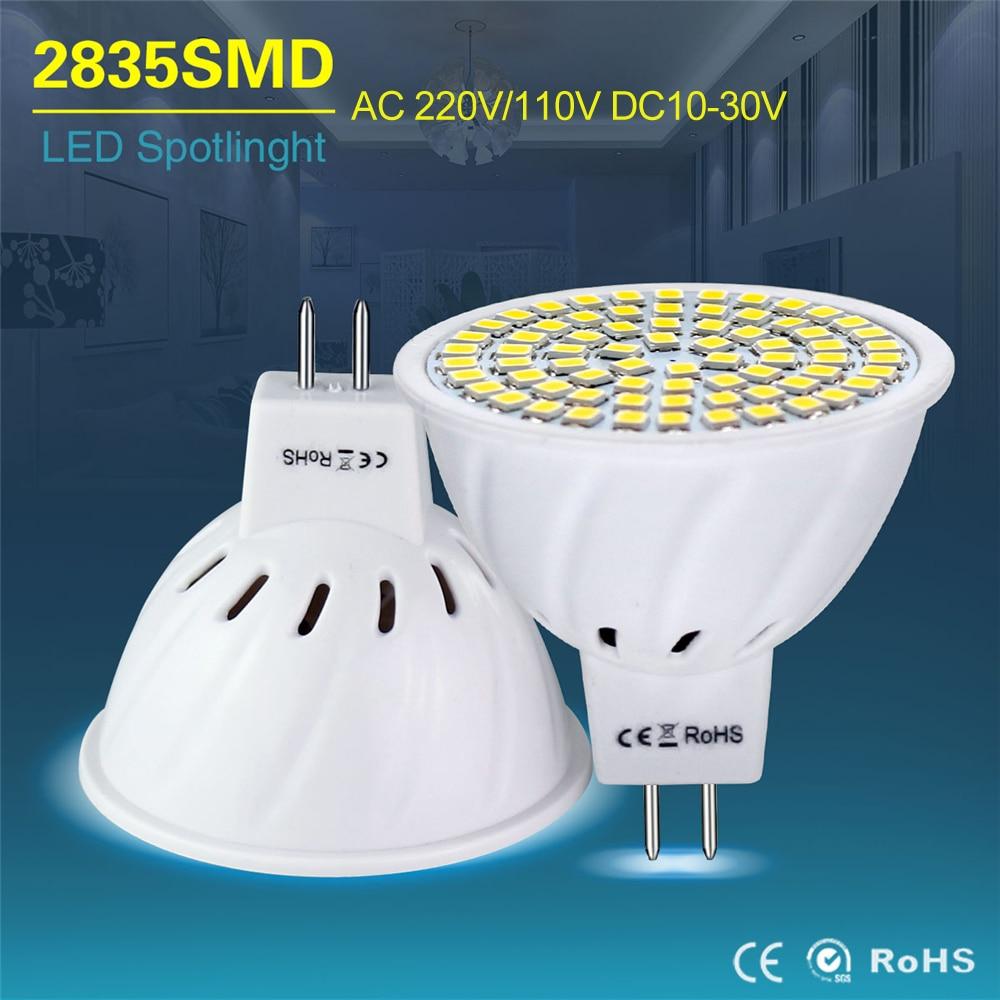 Светодиодный прожектор MR16, 4 Вт, 6 Вт, 8 Вт, 12 В, MR16, 220 В, 110 В, 10-30 в пост. Тока, GU5.3, SMD 2835, холодный белый, теплый, белый