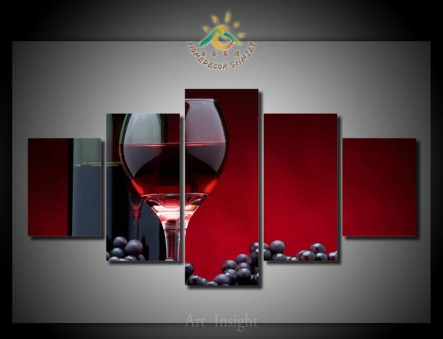 5 Pieces/set Red Wine Canvas Wall Art Paintings Picture Print On Canvas For  Home