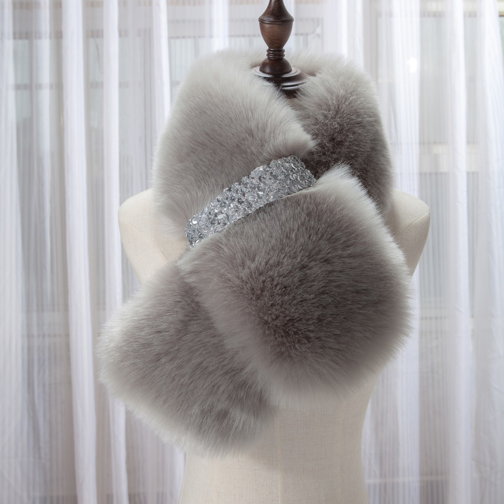 Crystal Bar Faux Fur Collar | Neck Scarves | Up to 60% Off Now