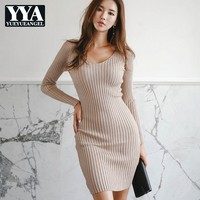 New Sexy Bodycon Dress Women Autumn Khaki Long Sleeve V neck Elegant Office Lady Knitting Dress High Quality Party Club Dresses