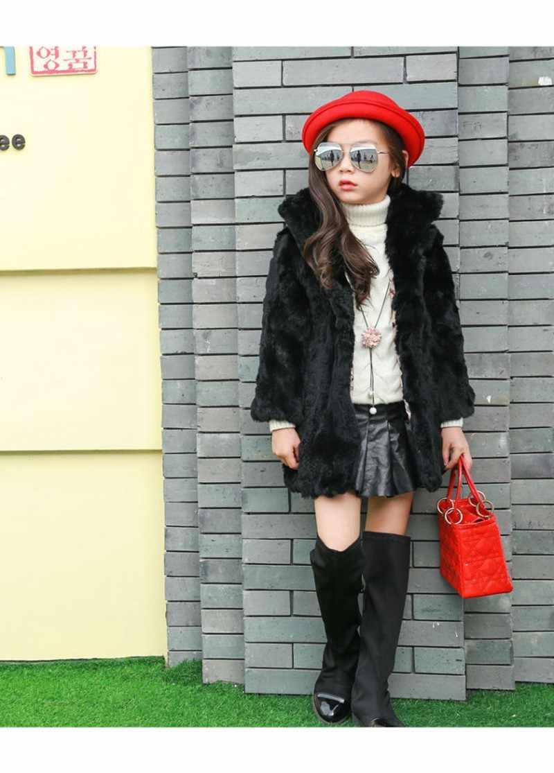 """CROAL שרי 100-160 ס""""מ החורף אמיתי ארנב פרווה מעיל עבור נער בנות חורף מעיל תינוק בגדים לילדים אדום לבן"""