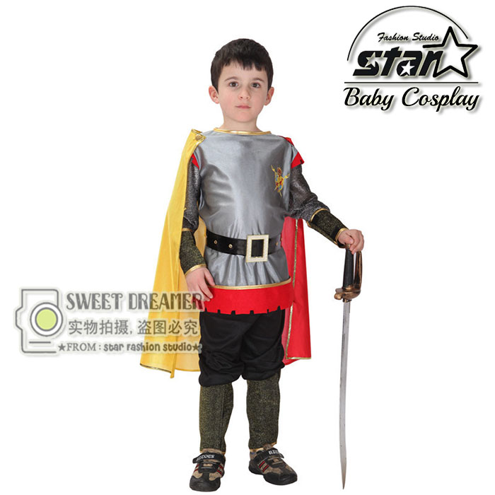 Plus Size 2016 Roman Warrior Knight Children Cosplay Hallowean Carnival Party Boy Prince King Kids Costumes Masquerade Suit children egyptian pharaoh costumes 2016 new cosplay masquerade halloween childen kid suit cleopatra royal fantasia disfraces