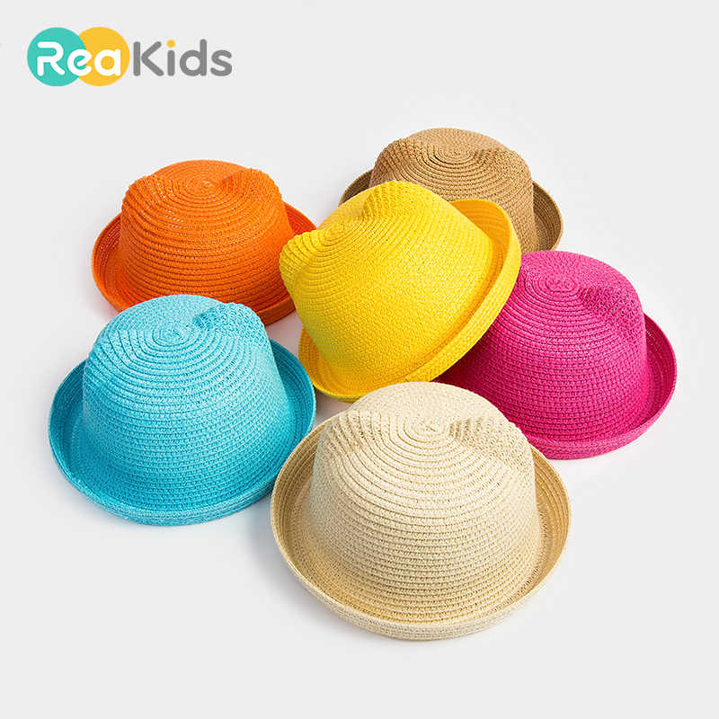 9051a707309 Detail Feedback Questions about REAKIDS Baby Cap Girls Straw Hat Cute Beach Caps  Sun Baby Hat Ears Children Summer Cap For Girls Boys Bucket Hat Baby Boys  ...