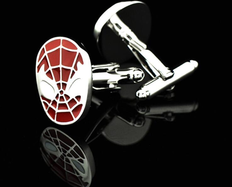20 par/lote clásico rojo/Negro Spiderman gemelos película superhéroe Spiderman puño Llinks cobre puño botón hombres joyería regalo-in Alfileres de corbata y gemelos from Joyería y accesorios    2