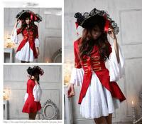 2015 Extravagant Skull Pirates Of The Caribbean Costumes Female Pirate Cosplay Halloween Costume For Women AMN2866