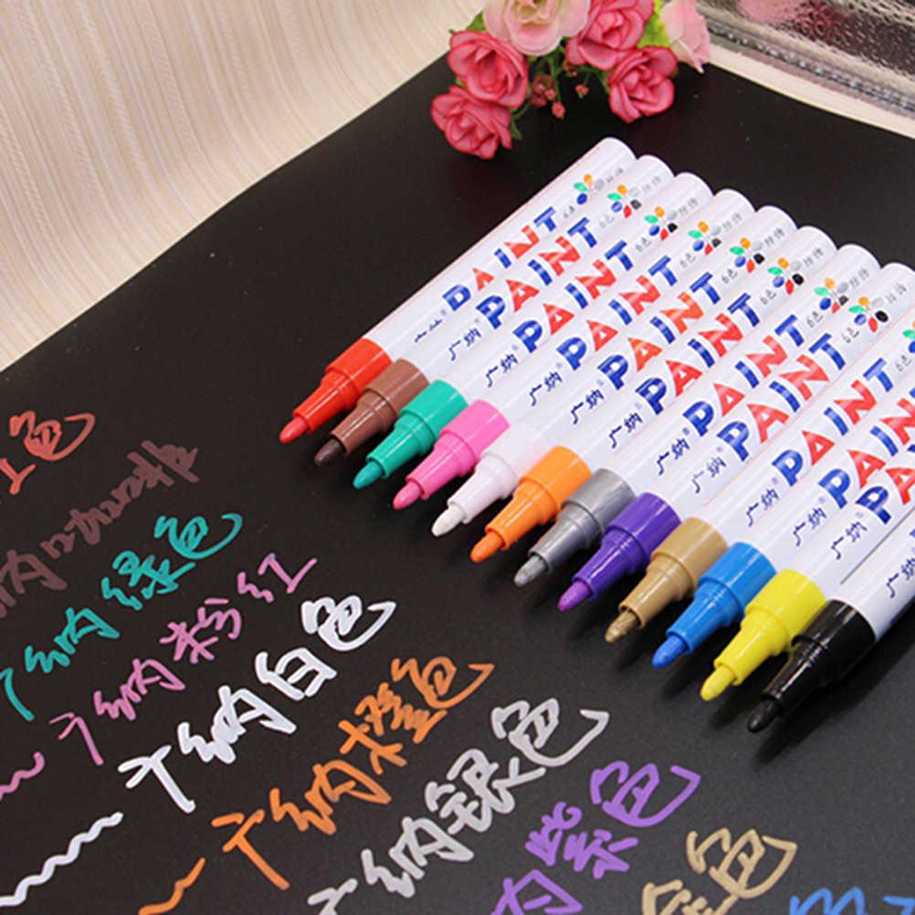 1pcs กันน้ำ marker ปากกาสำหรับยางรถ CD เซรามิคแก้วพลาสติกไม้กระดาษสี marker อุปกรณ์สำนักงานโรงเรียน
