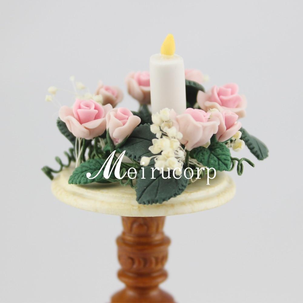 Кукольные домики изящные 1:12 сакле Миниатюрная свеча с цветами
