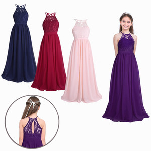 Image 2 - TiaoBug New Girls Lace Chiffon Sleeveless Halter Flower Girl Dress Princess Pageant A Line Hollow Out Formal Wedding Party Dress