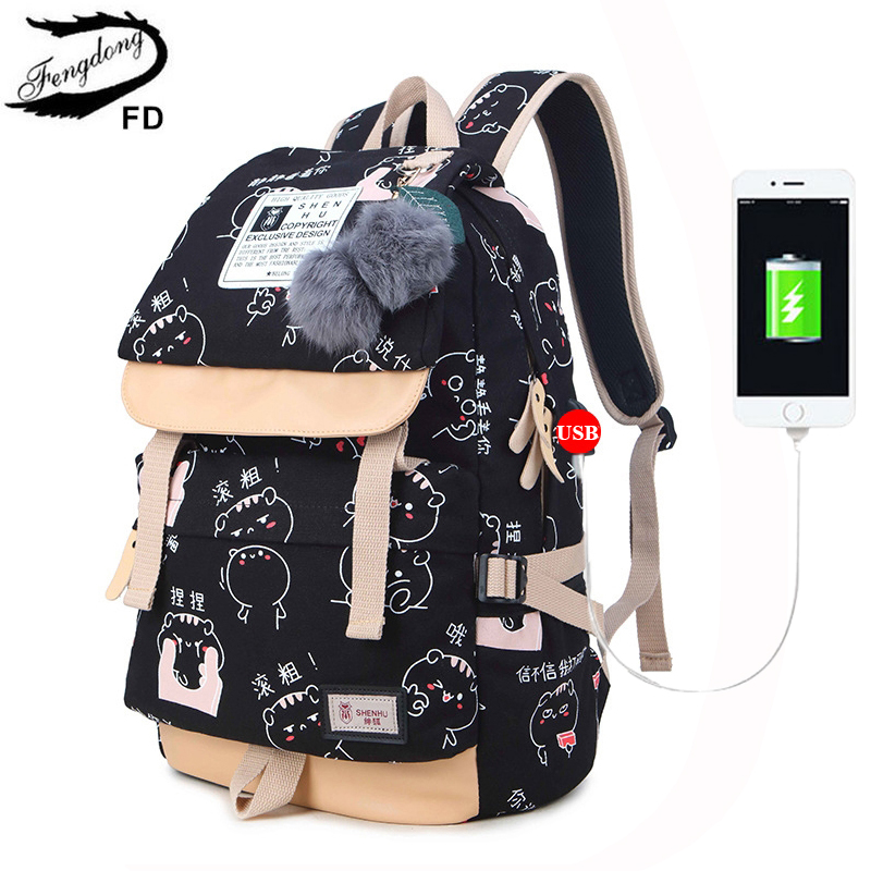 Buy Fengdong Female Women Backpack Shoulder Bags School Students Bag Travel Canvas Printing Backpacks For Fashion Teenagers Girls for $25.77 in AliExpress store
