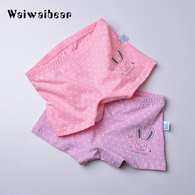 2Pcs/ Cartoon Dot Pattern Type Girls Boxer Briefs Breathable Cotton Panties Kids Girls Underwear For Baby Panties Children's