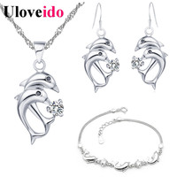 Free Shipping Ladies Necklace And Earrings Set Jewelry Sets Girls Ladies Bracelets Sliver Earrings Dolphin Pendent