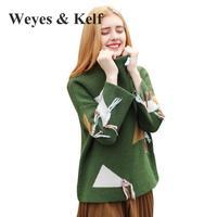 Weyes & Kelf Gland Moitié Col Roulé Vert Chandails Lâches femmes 2017 Winte Dames Géométrique À Manches Longues Tricoté Pull femmes