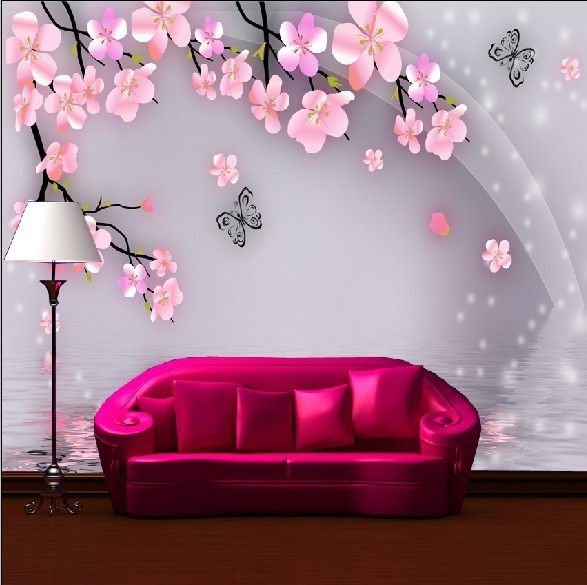 Peach Kupu Mural Besar Tv Sofa Living Room Wallpaper Background Ruang Tamu In Wallpapers From Home Improvement On Aliexpress