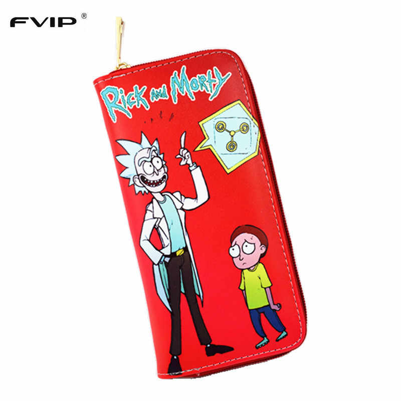 FVIP Anime Rick And Morty Long Wallet 3 Style Cute Round Zipper Purse