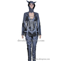 Batman Arkham City Cosplay Catwoman Costume Leather Jumpsuit Full Set Outfits Fashion Fast Shipping Halloween Party
